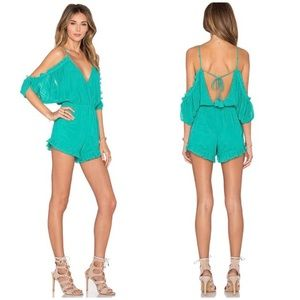 Lovers + Friends Malia romper in turquoise